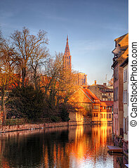 Evening Reflections in Strasbourg - Colorful reflections of...