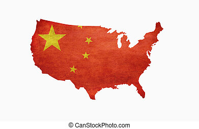 Chinese America - Chinese flag draped over america