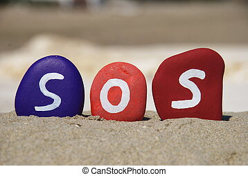 sos, save our souls on stones - SOS concept composed with...