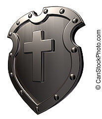 christian cross - metal shield with christian cross on white...