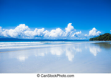 Blue sky and clouds in Havelock island Andaman islands,...