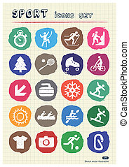 Sport web icons set drawn by chalk Hand drawn vector...