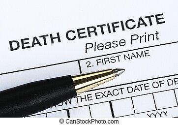 mortos, certificado