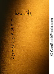New Life Planning - Intention concept. Nice paper surface...