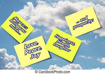 2013 Wishes for good things for you - on yellow sticky notes...