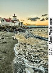 West Point Lighthouse at sunset