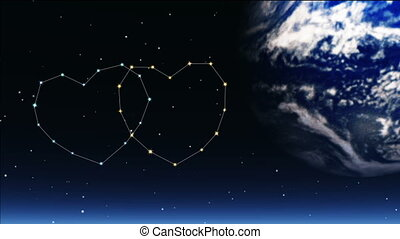 romantic stars twinkle in the night sky, a shooting star...