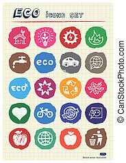 Eco elements and environment icons