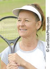 Portrait mature woman active retirement - Portrait Fit and...