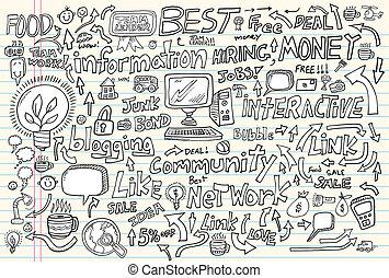 Internet Business Doodle Vector Set - Internet Business...