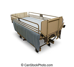 Hospital Bed - Hospital bed or medical stretcher on a white...