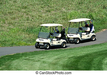 Two golf carts on the cart path
