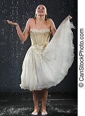 bonito, menina, Desgastar, Vestido, colete, plataformas,...