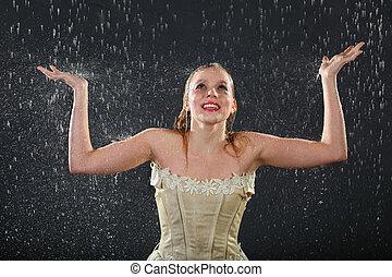 bonito, menina, Desgastar, Vestido, sorrisos, chuva, presas,...