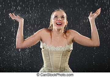 Feliz, bonito, menina, Desgastar, Vestido, sorrisos, chuva,...