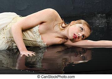 Desgastar, colete, chão, thoughtfull, mentiras, molhados,...