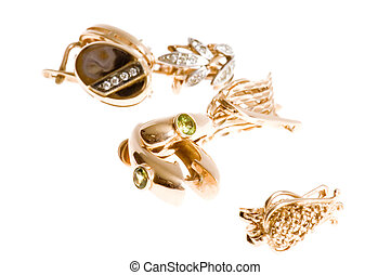 Gold ear rings - object on white - Gold ear rings