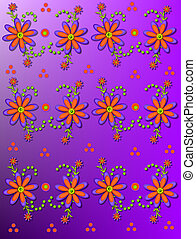 Daisy Garden on bright Purple - Shasta Daisies in orange and...