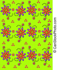 Daisy Garden on Lime Green - Shasta Daisies in orange and...
