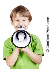 Little boy in the green t-shirt with megaphone
