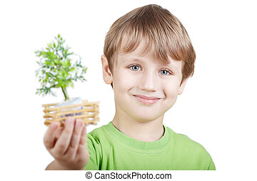 Smiling boy in the green t-shirt holds a little artificial tree in the stretched arm