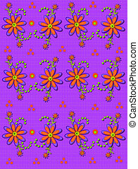 Daisy Garden on Linen Purple - Shasta Daisies in orange and...