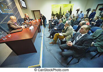 MOSCOW-NOV 19:Journalists ask questions during press...