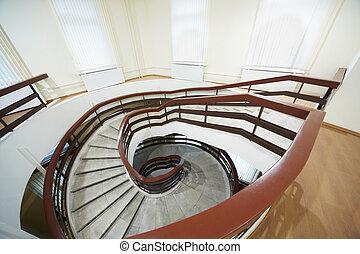 escadaria, espiral, BAIXO, ir, passos, Mármore