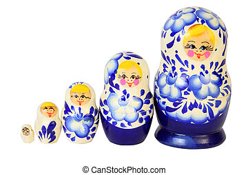 Set of five blue painted Russian matryoshkas isolated on white background