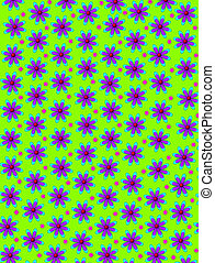 Daisy and Dots in Lime Green - Lime green background is...