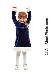 A little girl in dark blue dress rised her hands up Isolated...