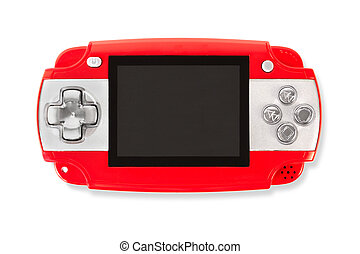 Red gamepad isolated on white