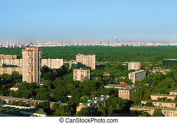 Buildings at sunny morning in small district of Moscow,...