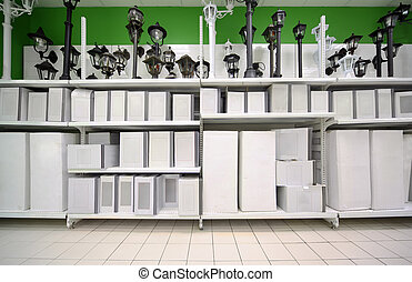 Shelves with variety of lights and lamps inside large supermarket