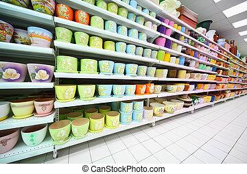 Estantes, variedad, colorido, arcilla, maceta, dentro,...