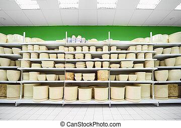 colorido, Estantes, dentro, maceta, supermercado, grande,...
