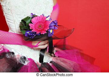 mãos, Cor-de-rosa, malha, luvas, Noiva, Desgastar,...