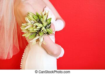 mãos, jovem, Noiva, Desgastar, branca, Vestido, ter,...
