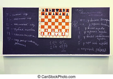 Chess stand on chessboard at blackboard of chess club; abbreviations of different moves