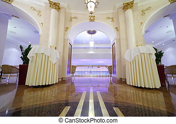 MOSCOW - APRIL 27: Beautiful light hall with white columns...