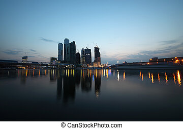 New Moscow City business complex at evening; reflection in river