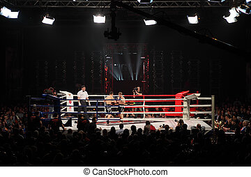 MOSCOW - MARCH 12: Ali Bagautinov (right) and Vitaly Panteleyev (left) fight at ring at Fight Nights Battle of Moscow-3 in Crocus City, on March 12, 2011 in Moscow, Russia.