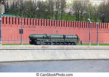 MOSCOW - MAY 7: Military equipment on embankment of Moscow...