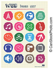 Internet, media and network icons - Internet, media and...