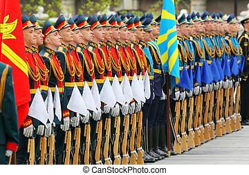 MOSCOW - MAY 8: Rows of young soldiers at ceremony of wreath...