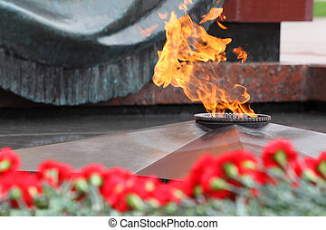 Flowers at memorial to tomb of Unknown Soldier in Alexander...