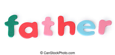father, colorful letters for child, english word isolated on...