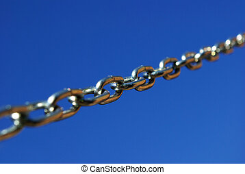 chain - new chain is isolated on a dark blue background