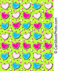 Heart and Pearls Green with pink dots - Lime green...