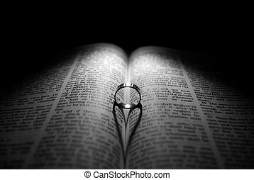 Wedding Ring and Bible - Wedding Ring and heart shaped...
